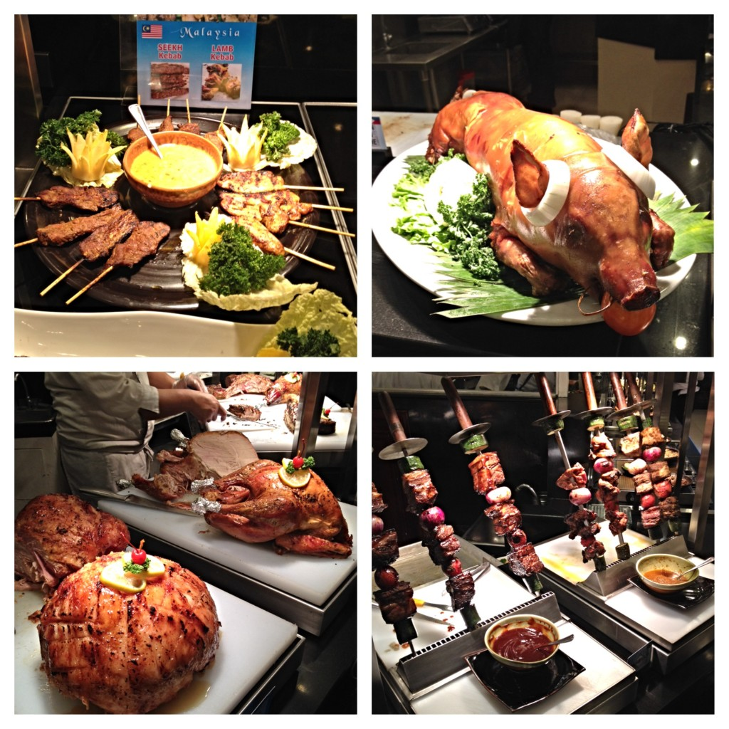 There is no shortage of meat if you are a meat lover. Pictured from top left corner-clockwise is Satay, Lechon, Churrascaria, and Carving station of Ham and Turkey