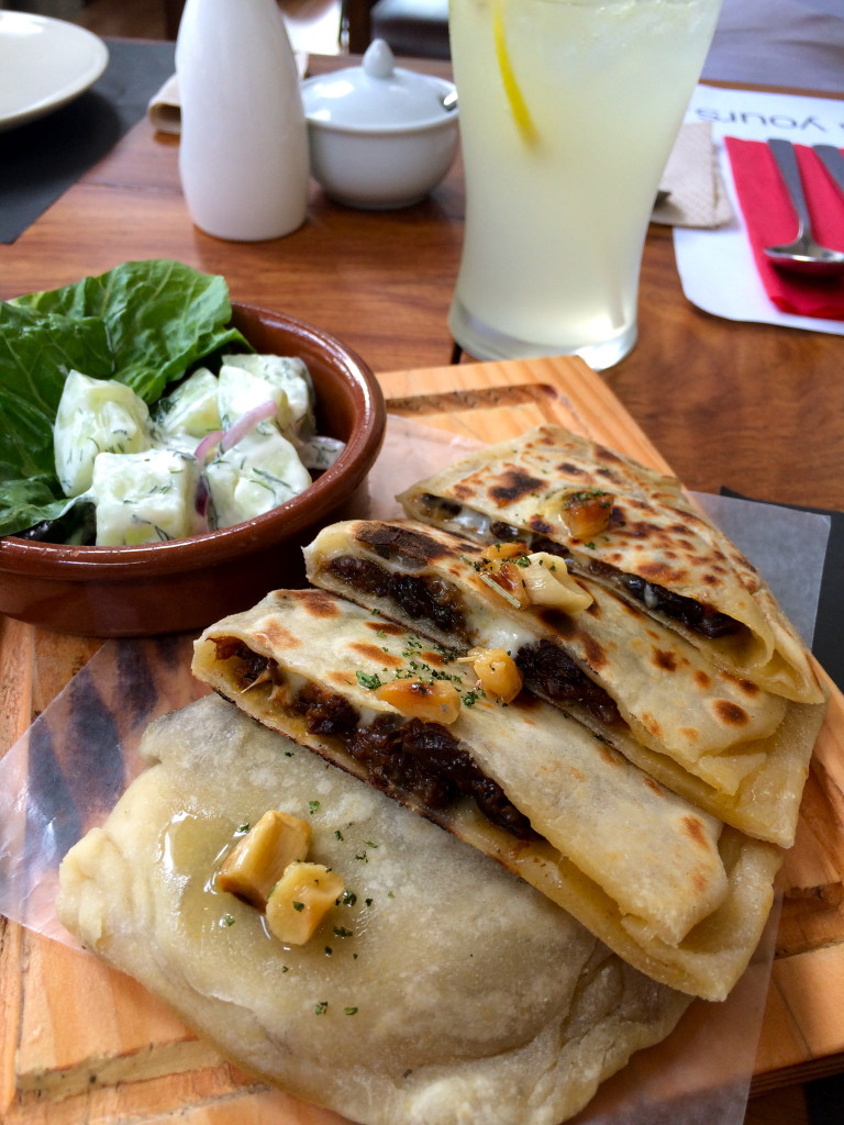 This Spicy Beef Gozleme had just the right bit of kick and spice balanced with cheese and garlic. Gozleme is a savory tradition pastry dish made of hand-rolled dough that is filled wi