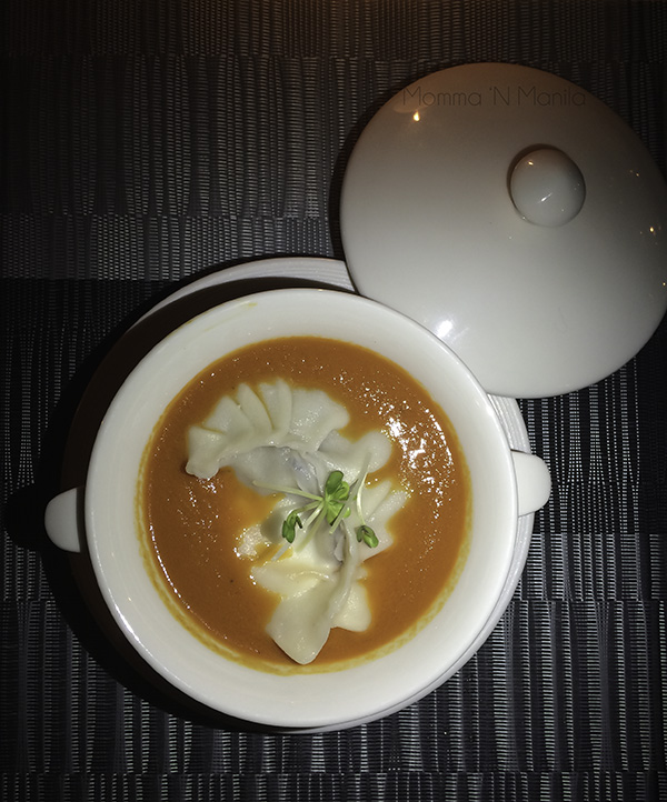 Roasted Tomato Soup with Capsicum with a Poached Egg Dumpling