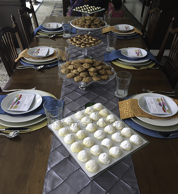 I set a simple table without flowers and kept the cookies as our centerpiece while we had a simple lunch.