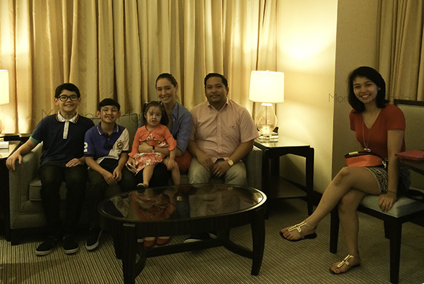 Family photo op in our living room. The suite had a sitting area with a t.v. and even a little kitchenette.
