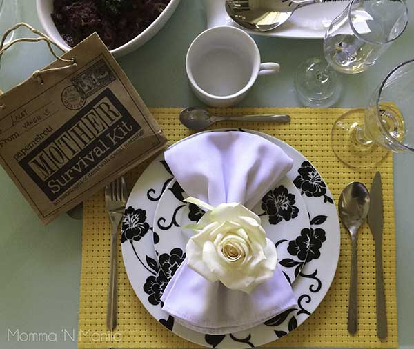 She always sets such a beautiful table, and she makes it extra special with details. I LOVE the Mom Survival Kit! How cute is that?