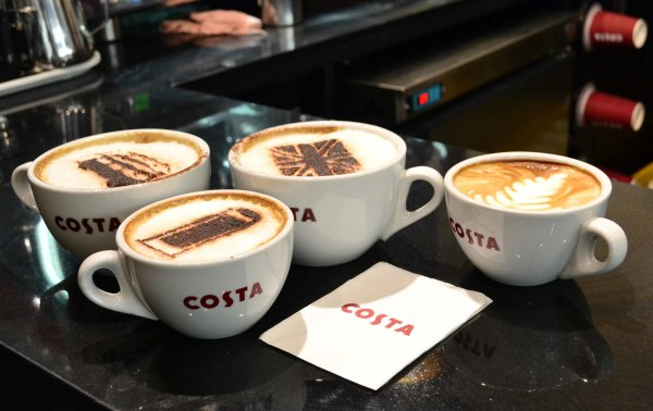 Check out some of the latte art at Costa Coffee - the dobule-decker bus, the telephone booth, and the Union Jack.