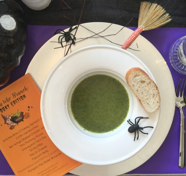 Witches Brew Spinach and Gruyere Soup to start us off.